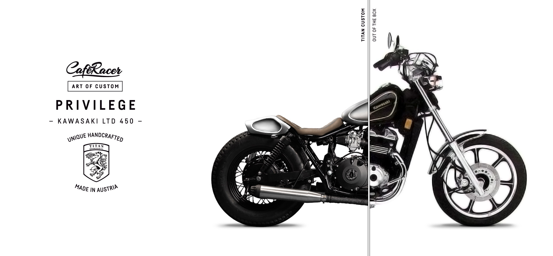 TITAN_CustomBike_CafeRacer_Graz_MadeInAustria_Before-After_TITAN-Privilege_Kawasaki-LTD450_Motorradumbau_Left