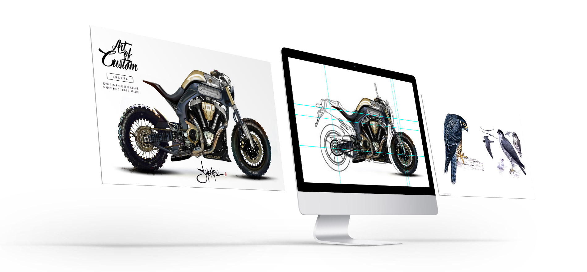 Titan_CustomBikes_CafeRacer_Austria-Atelier_SHENFU_Concept_Idea_Illustration_Digital_Artwork_Motorycle-Drawing-Artwork Motorrad BMW Umbau Graz