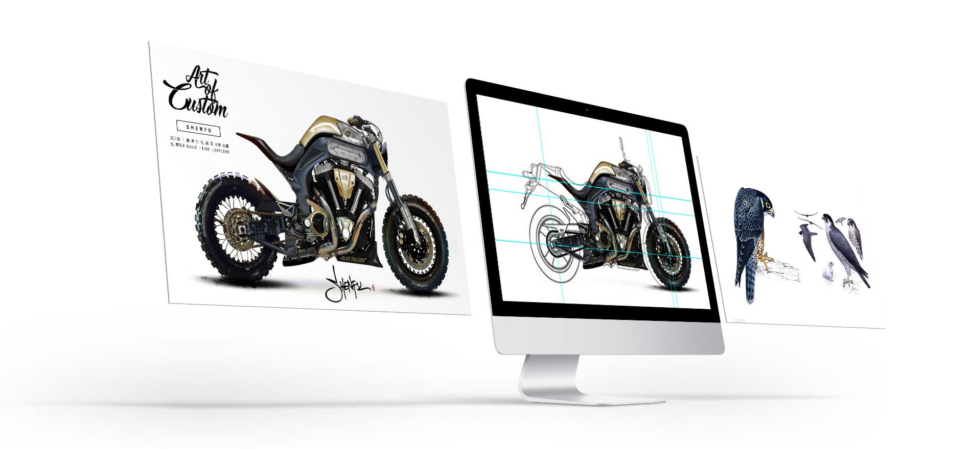 Titan_CustomBikes_CafeRacer_Austria-Atelier_SHENFU_Concept_Idea_Illustration_Digital_Artwork_Motorycle-Drawing-Artwork Motorrad BMW Umbau Graz